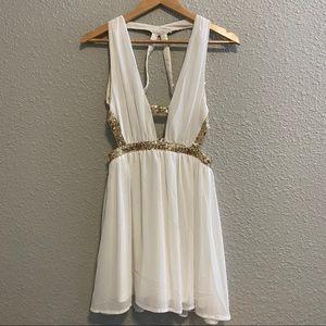 Tobi White Sequin Skater Dress